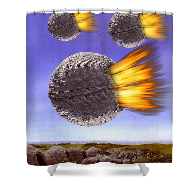 Magritte Shower Curtain featuring the painting Fireballs by Gravityx9 Designs