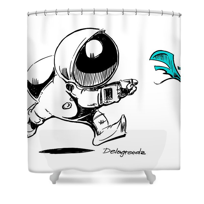 Astronaut Shower Curtain Featuring The Digital Art Firefly By Emilio Martinez
