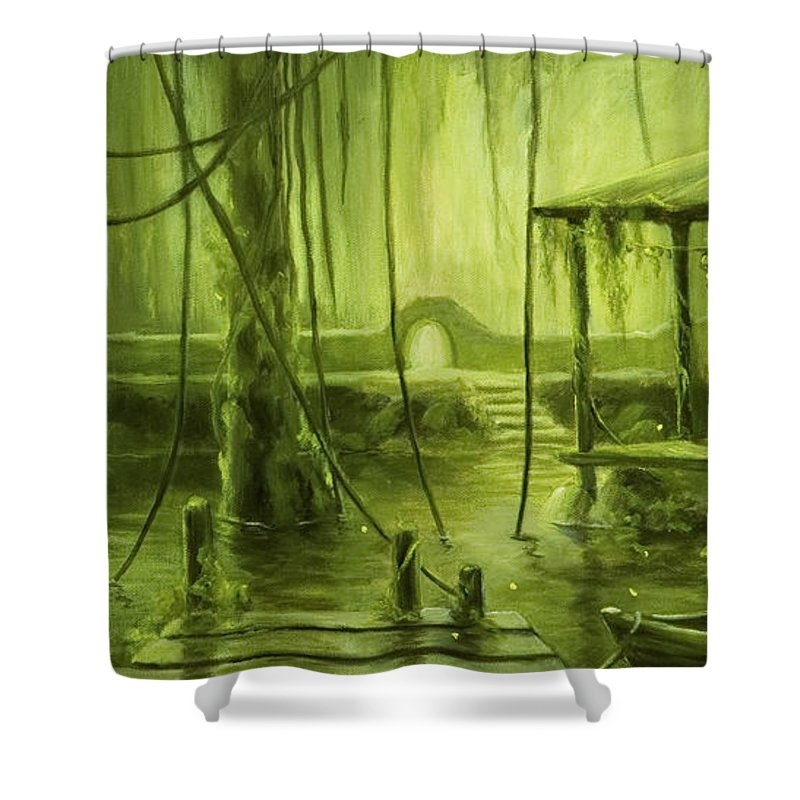 Swamp Shower Curtain Featuring The Painting Firefly By Jane Kiskaddon