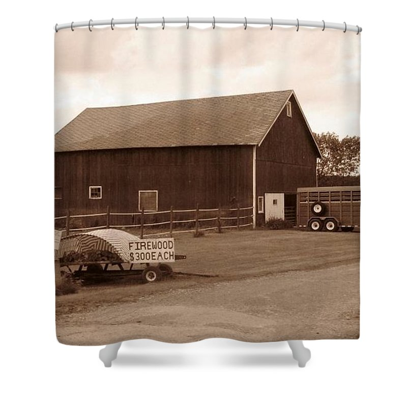 Barn Shower Curtain featuring the photograph Firewood For Sale by Rhonda Barrett