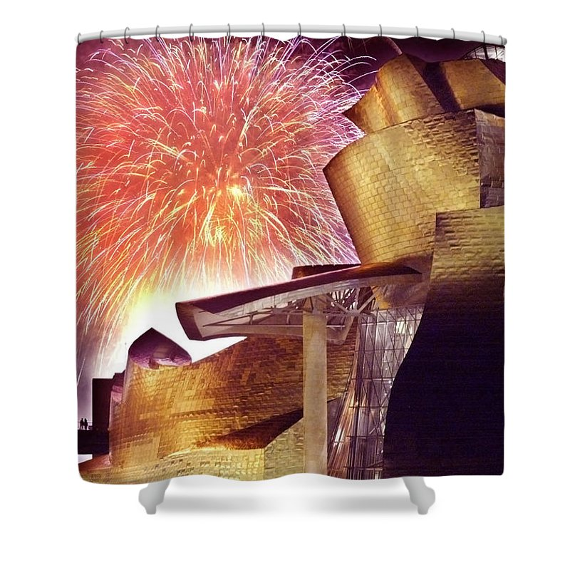 Spain Shower Curtain featuring the photograph Fireworks At Guggenheim by Rafa Rivas