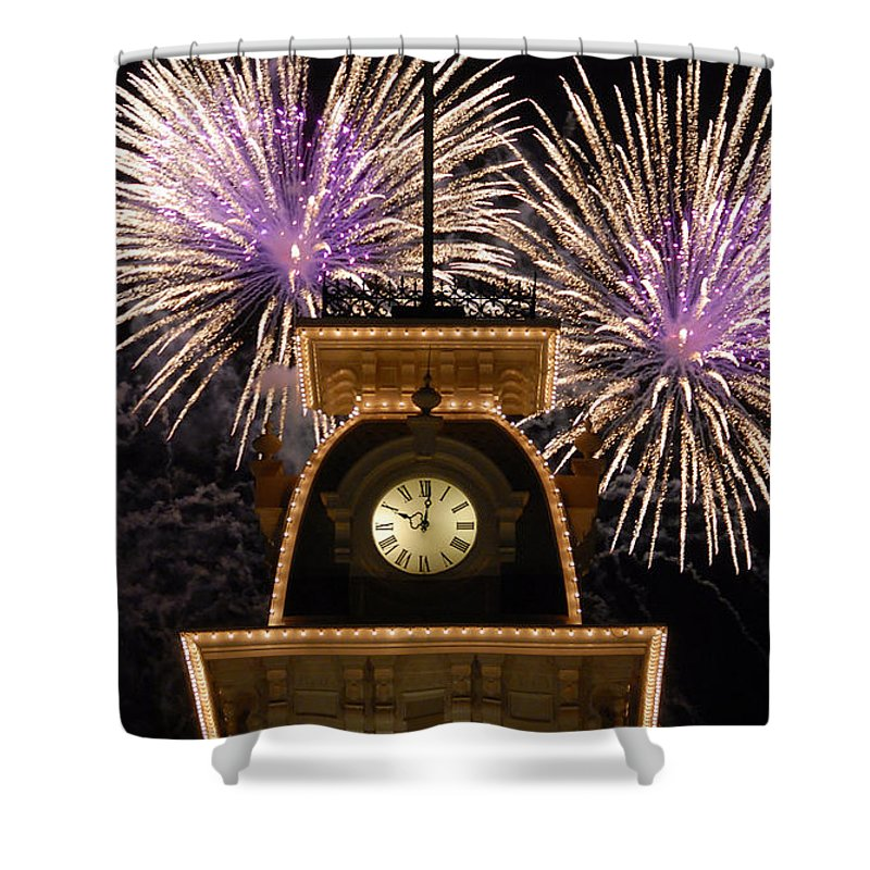 Fireworks Shower Curtain featuring the photograph Fireworks At Ten by David Lee Thompson