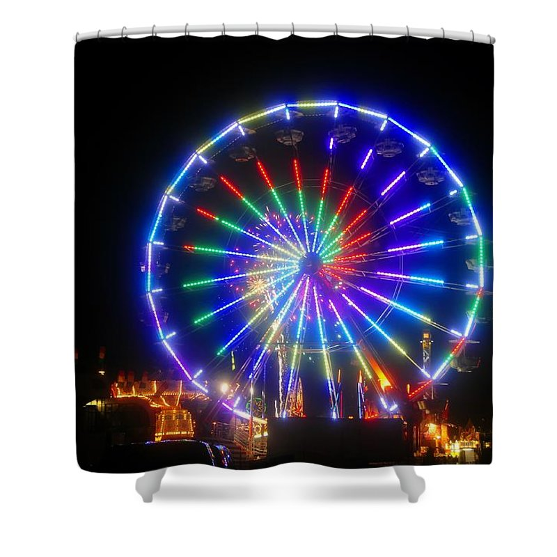 Fireworks Shower Curtain featuring the photograph Fireworks At The Fair by David Lee Thompson