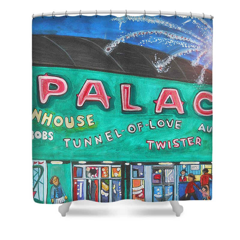 Asbury Park Art Shower Curtain featuring the painting Fireworks At The Palace by Patricia Arroyo