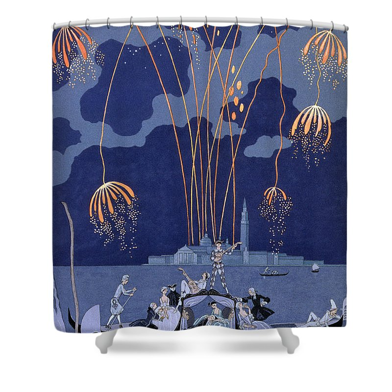 Fireworks In Venice Shower Curtain For Sale By Georges Barbier