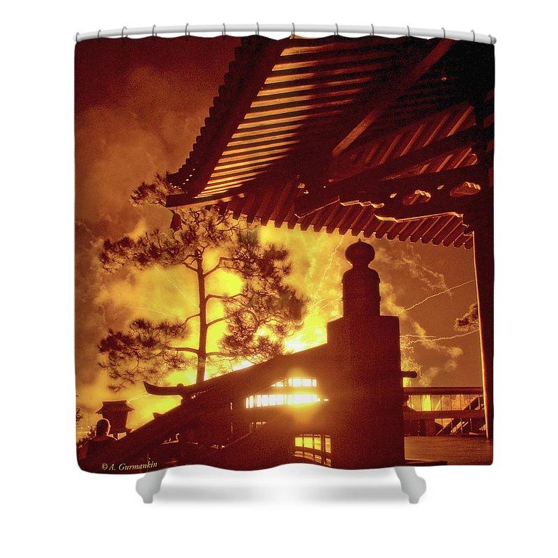 Japan Pavilion Shower Curtain featuring the photograph Fireworks, Japan Pavilion, Epcot, Walt Disney World by A Gurmankin