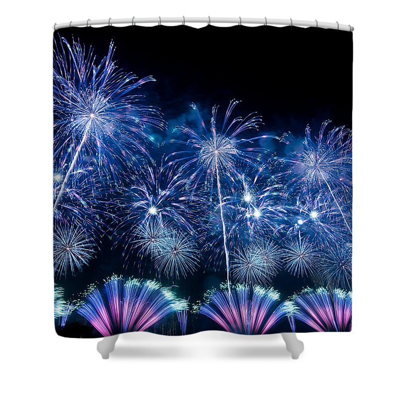 Fireworks Shower Curtain featuring the digital art Fireworks by Zia Low