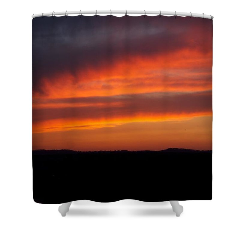 Red Sunset Shower Curtain featuring the photograph Firey Skies by Toni Berry