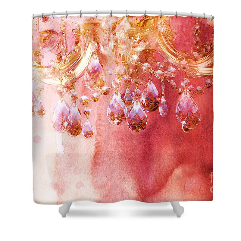 Watercolors Shower Curtain Featuring The Painting First Blush Watercolor Gold Glitter Crystals Chandelier By Tina Lavoie