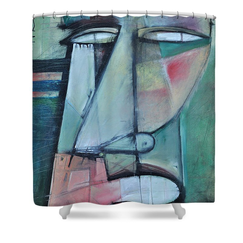 Face Shower Curtain featuring the painting First Day North Of The Tension Line by Tim Nyberg