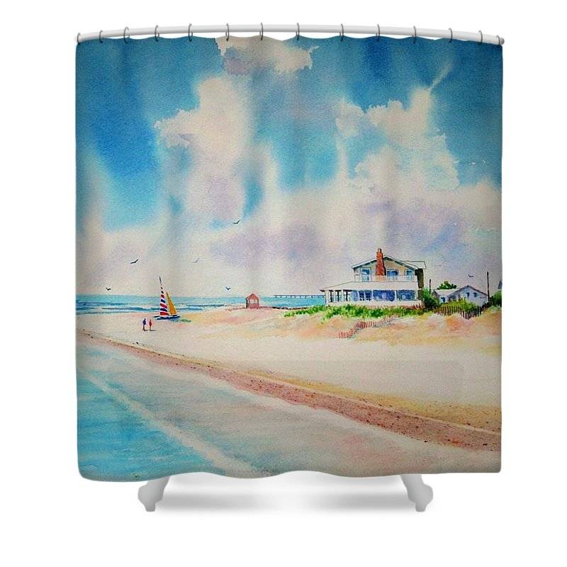 Beach Shower Curtain featuring the painting First Day Of Vacation Is Pricless by Tom Harris