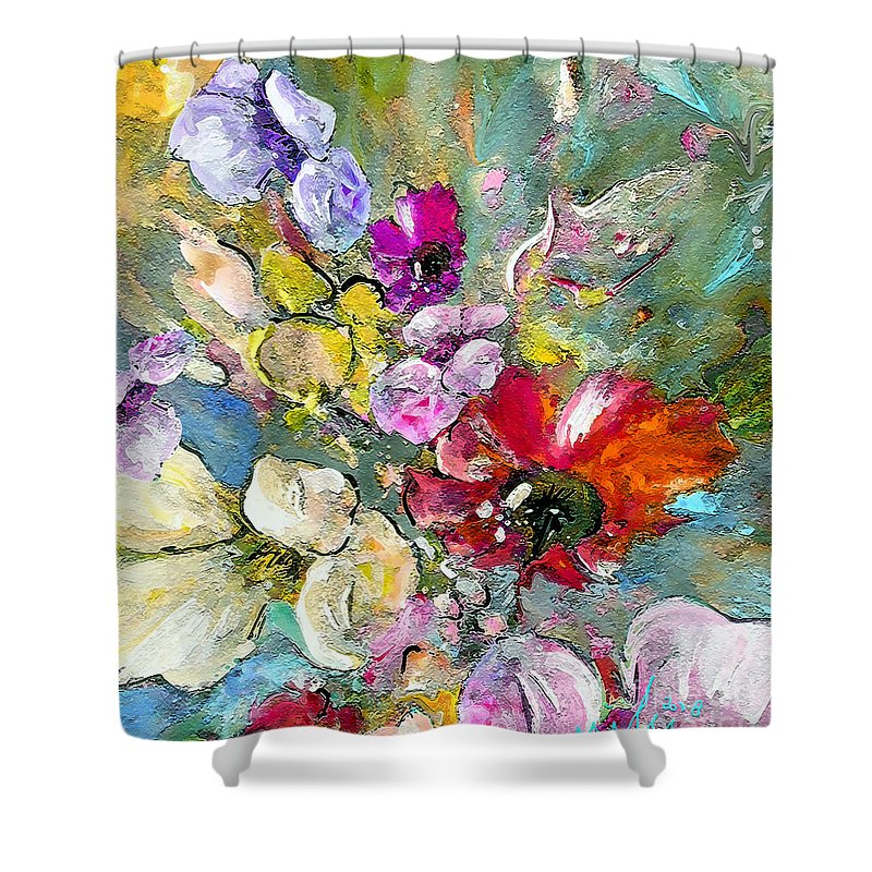 Nature Painting Shower Curtain featuring the painting First Flowers by Miki De Goodaboom