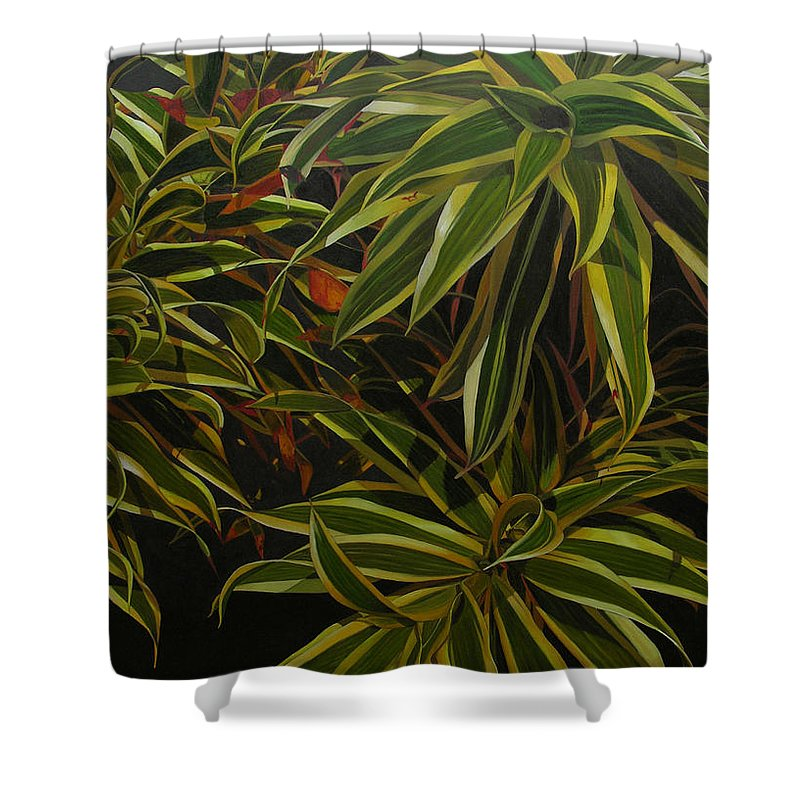 Leaves Shower Curtain featuring the painting First in Cabot by Thu Nguyen