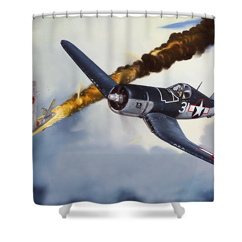 Military Shower Curtain featuring the painting First Kill For The Jolly Rogers by Marc Stewart