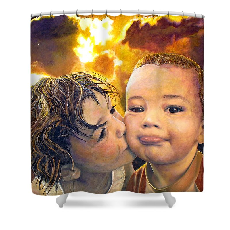 Children Shower Curtain featuring the painting First Kiss by Michael Durst