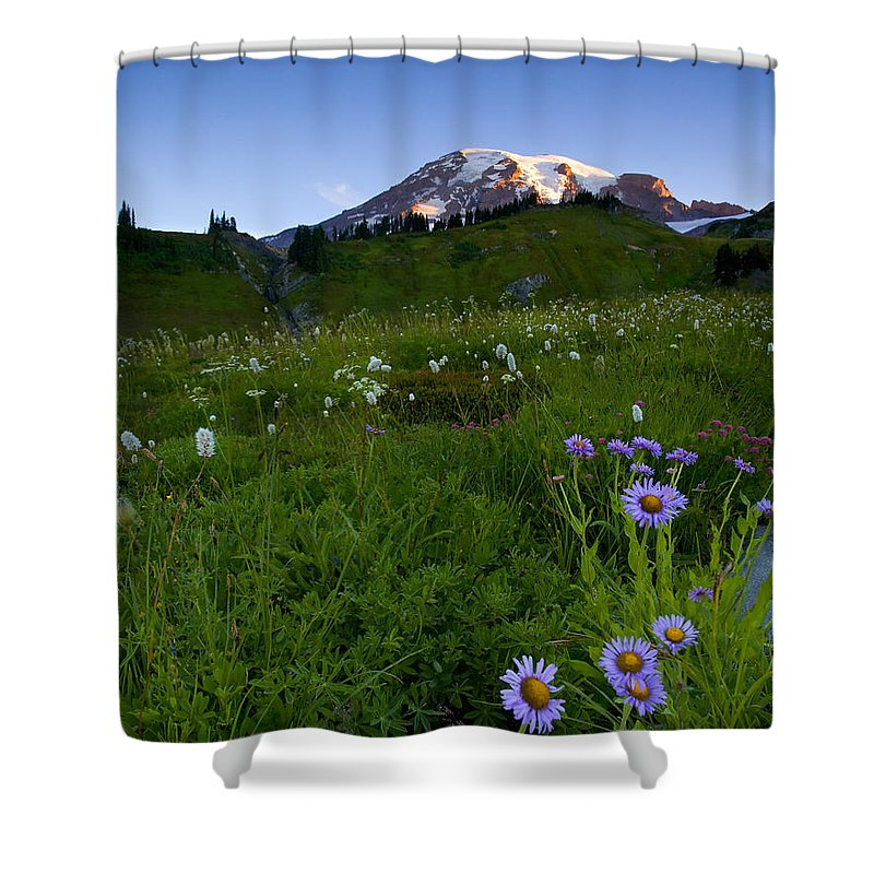 Rainier Shower Curtain featuring the photograph First Light by Mike Dawson