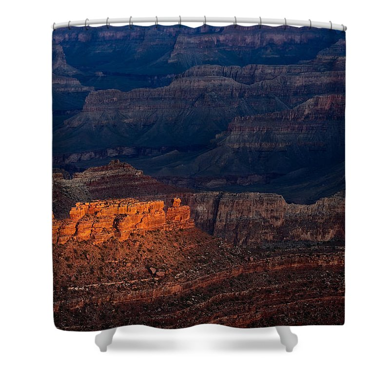 Arizona Shower Curtain featuring the photograph First Light Over Yavapai Point Grand Canyon by Steve Gadomski