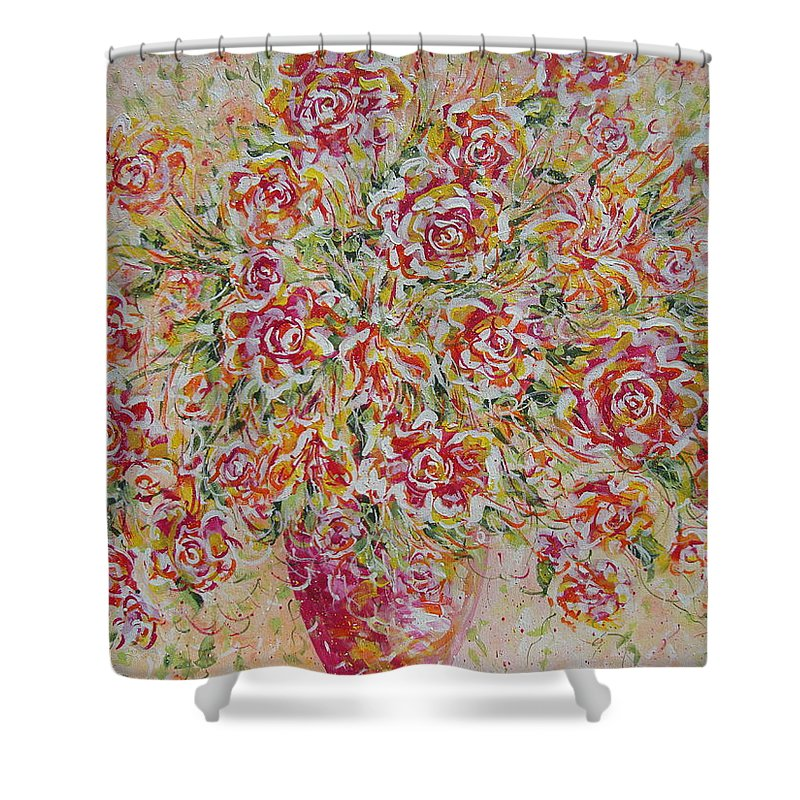 Flowers. Floral Shower Curtain featuring the painting First Love Flowers by Natalie Holland