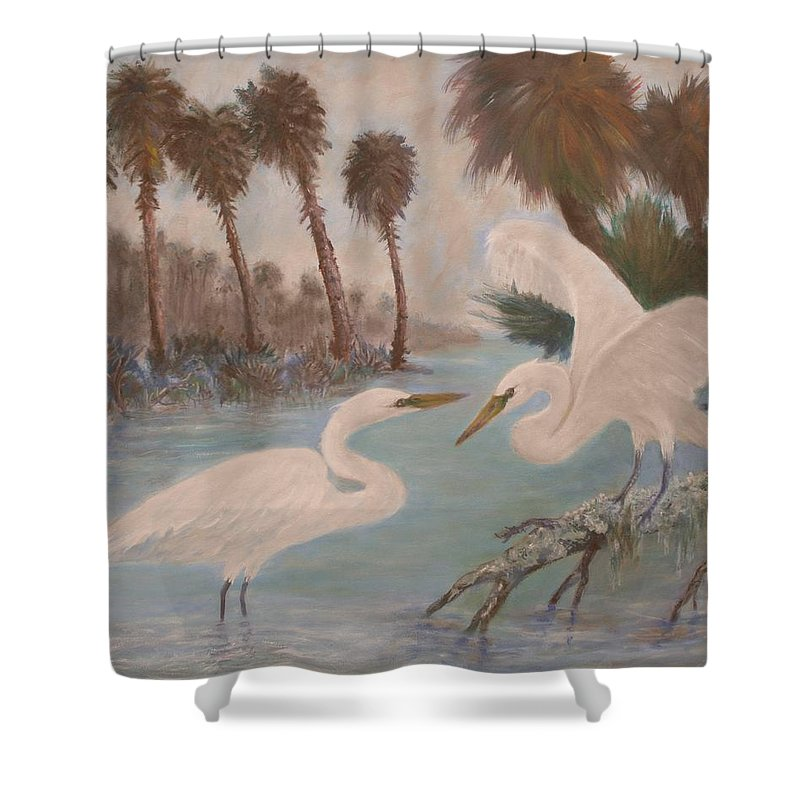 Egret Shower Curtain featuring the painting First Meeting by Ben Kiger