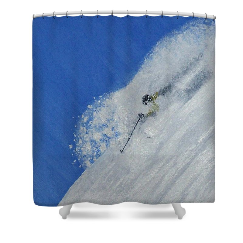 Ski Shower Curtain featuring the painting First by Michael Cuozzo