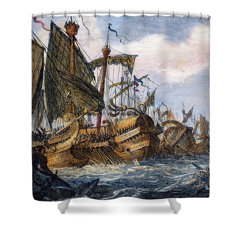 1st Shower Curtain featuring the photograph First Punic War Battle by Granger