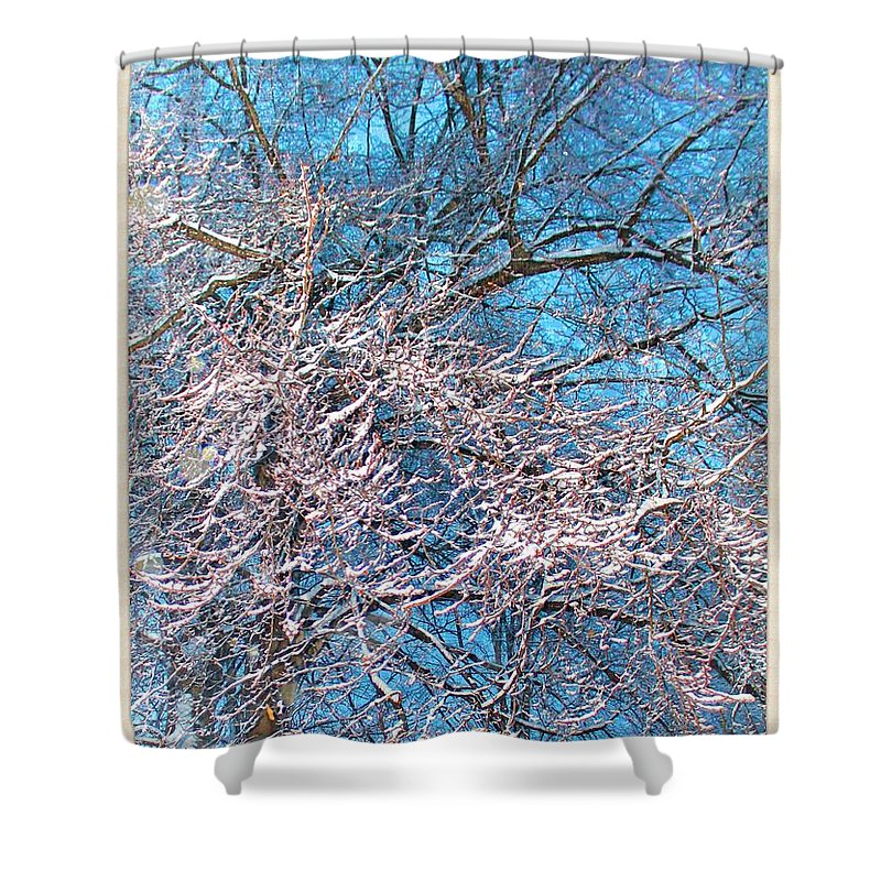 Snow Shower Curtain featuring the photograph First Snow At Dawn by Mario MJ Perron