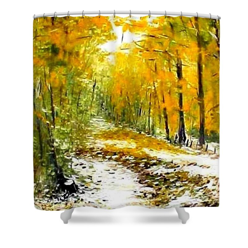 Landscape Shower Curtain featuring the painting First Snow by Boris Garibyan