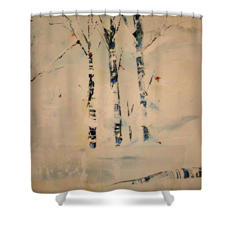 Birch Shower Curtain featuring the painting First Snow Central Park by Jack Diamond