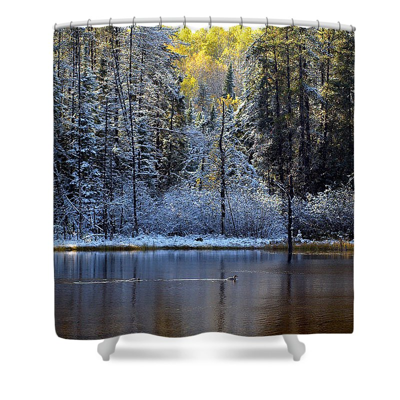 Canada Shower Curtain featuring the photograph First Snow by Doug Gibbons