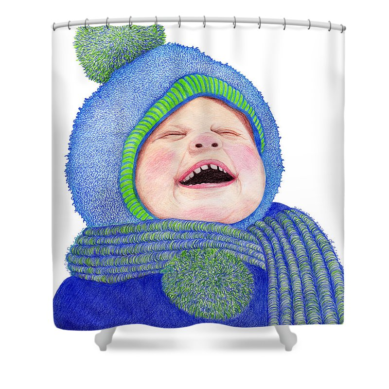 Young Boy Shower Curtain featuring the drawing First Snow by Marilyn Hilliard