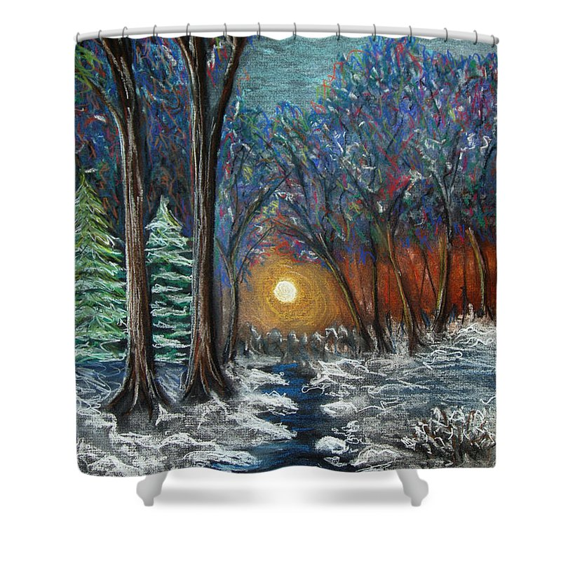 Snow Shower Curtain featuring the pastel First Snow by Nancy Mueller