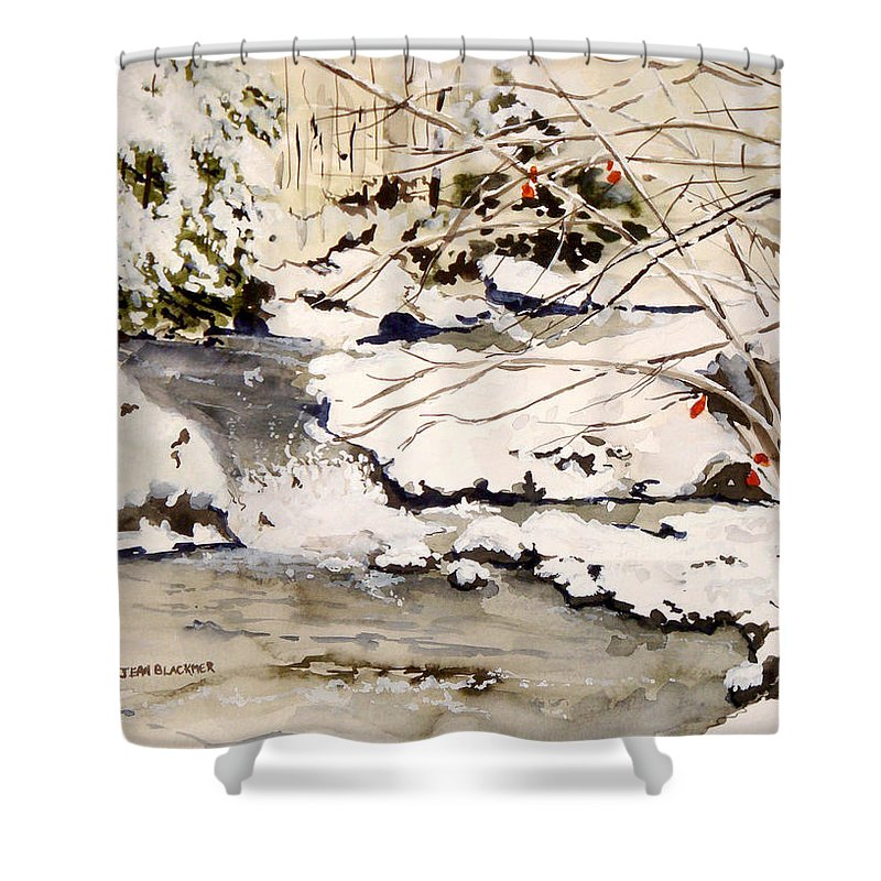 Winter Scene Shower Curtain featuring the painting First Snowfall by Jean Blackmer