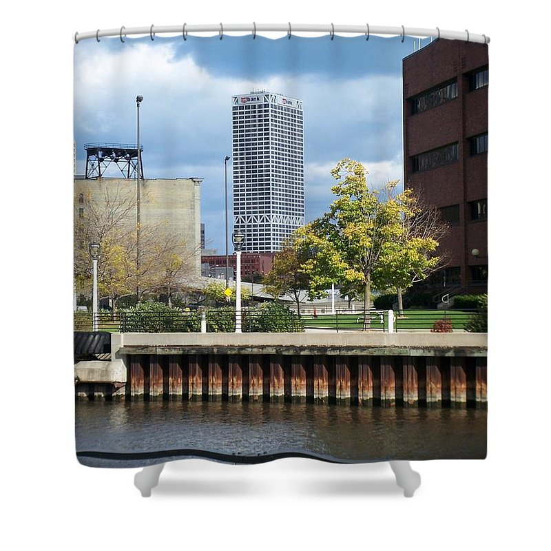 First Star Bank Shower Curtain featuring the photograph First Star Tall View From River by Anita Burgermeister