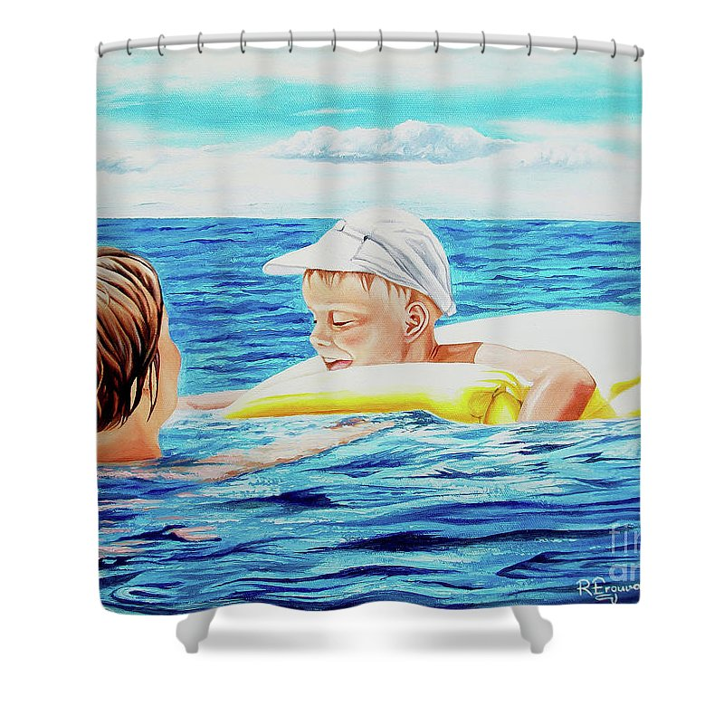 Sea Shower Curtain featuring the painting First Swimming - Nadar Primero by Rezzan Erguvan-Onal