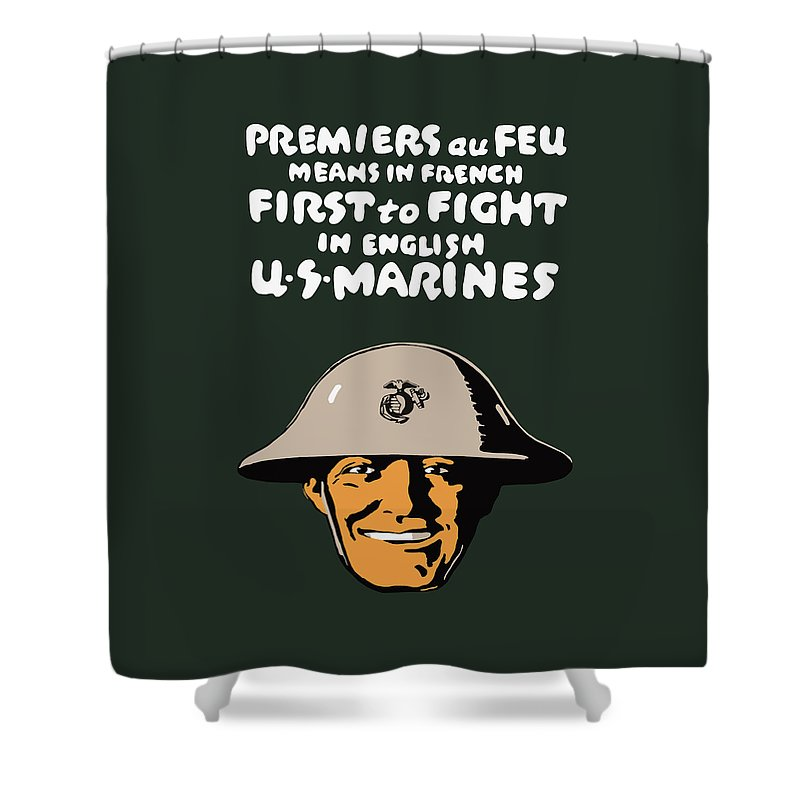 Marine Corps Shower Curtain featuring the painting First To Fight - Us Marines by War Is Hell Store