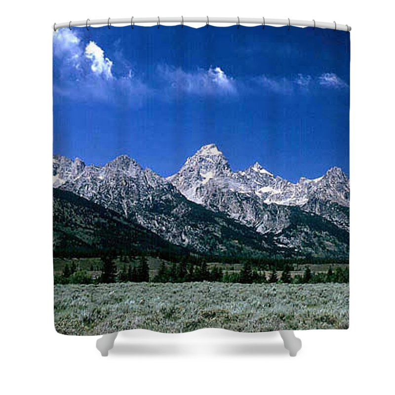 Mountains Shower Curtain featuring the photograph First View Of Tetons by Kathy McClure