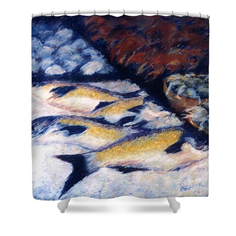 Fish Shellfish Market Shower Curtain featuring the pastel Fish And Shellfish by Pat Snook