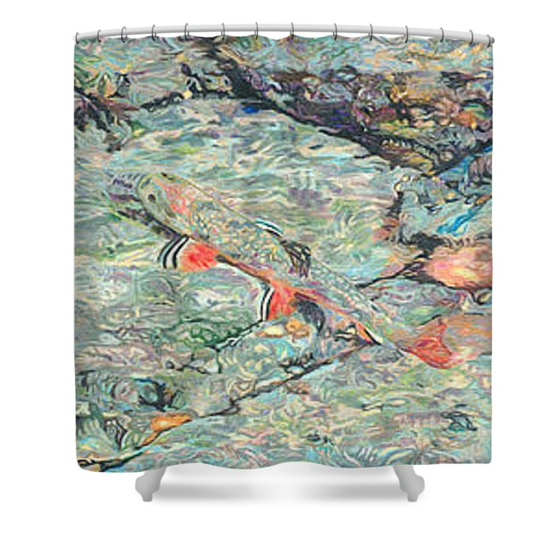 Art Shower Curtain featuring the drawing Fish Art Trout Art Brook Trout Brookie Artwork Nature Underwater Wildlife Creek Art River Art Lake by Baslee Troutman