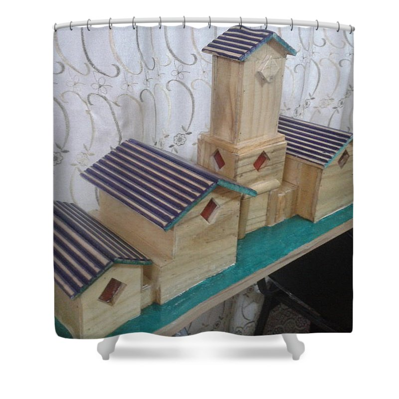 Wood / Decore / Cover / Light Element Shower Curtain featuring the mixed media Fish Box Cover by Hassan Ragheb