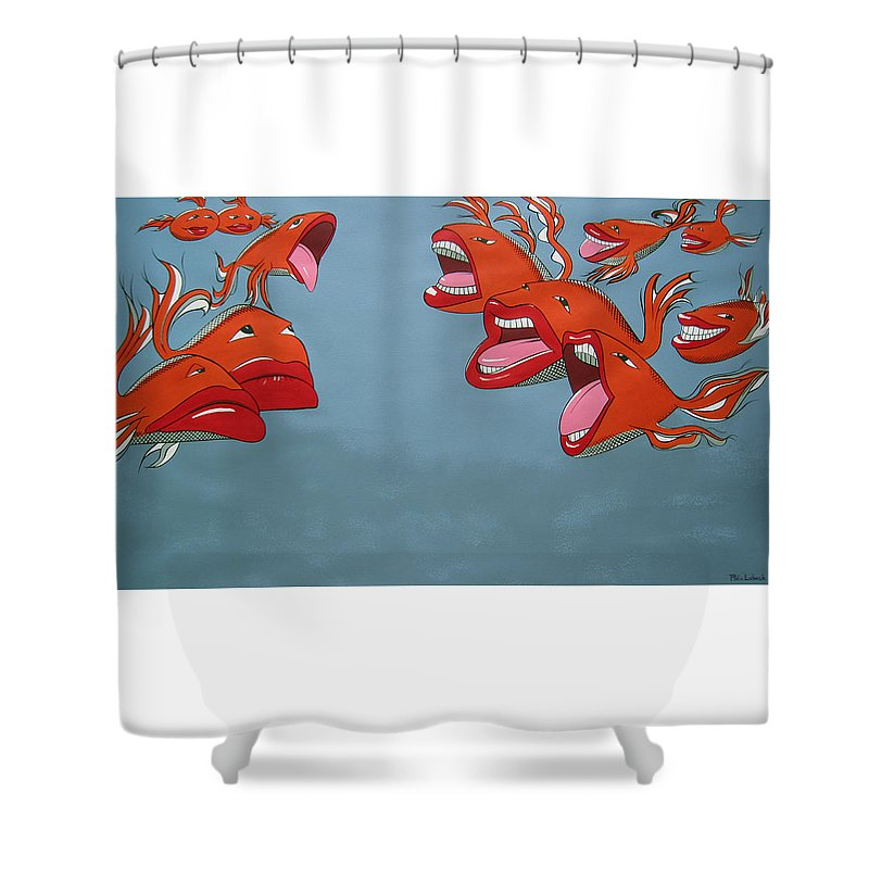 Seascape Shower Curtain featuring the painting Fish Fight by Patricia Van Lubeck