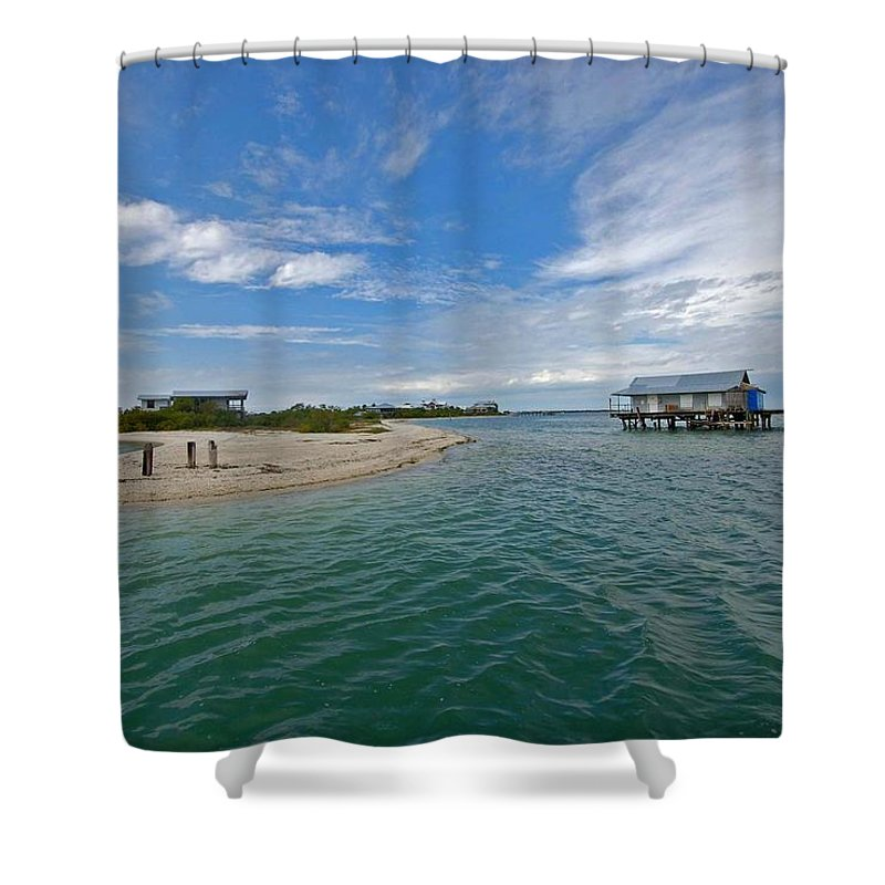 Pelican Shower Curtain featuring the photograph Fish Hut 2 by Michael Thomas