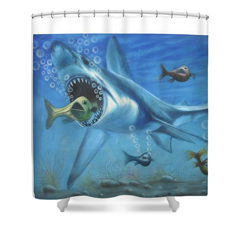 Fish Shower Curtain featuring the painting Fish In Action by Olaoluwa Smith