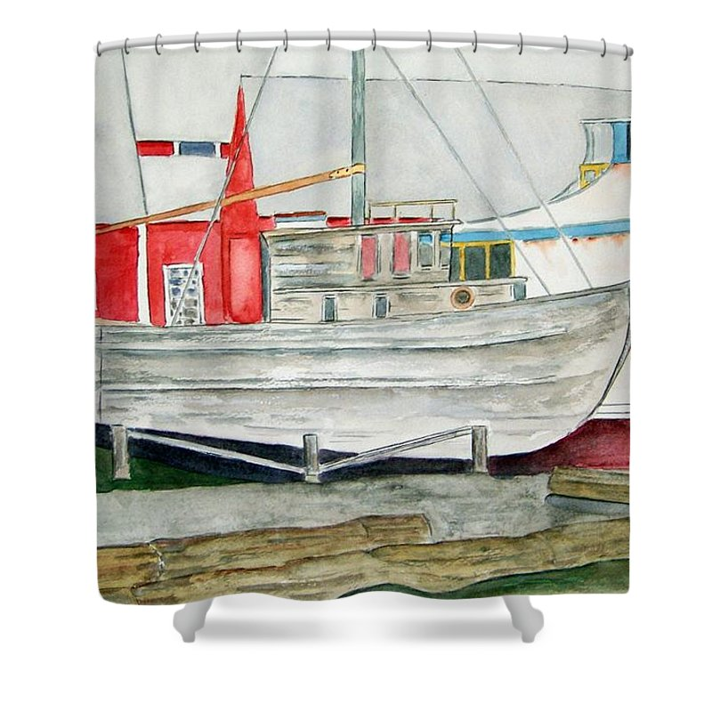 Alaska Art Shower Curtain featuring the painting Fish Out Of Water by Larry Wright