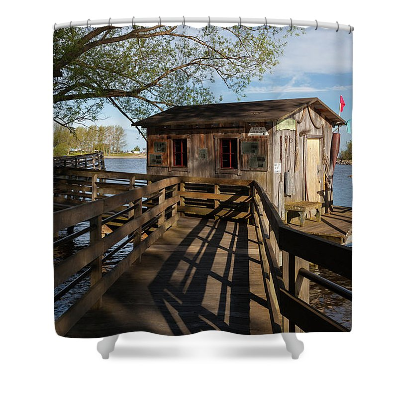 Fish Shack Shower Curtain featuring the photograph Fish Shack by Fran Riley