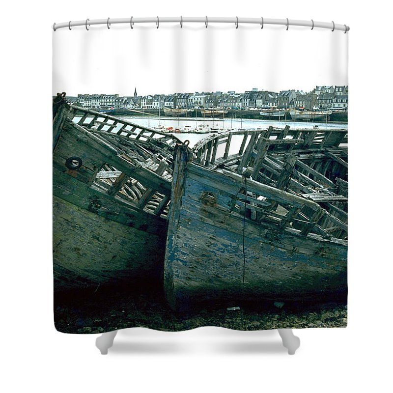 Fisher Boats Shower Curtain featuring the photograph Fisher Boats by Flavia Westerwelle