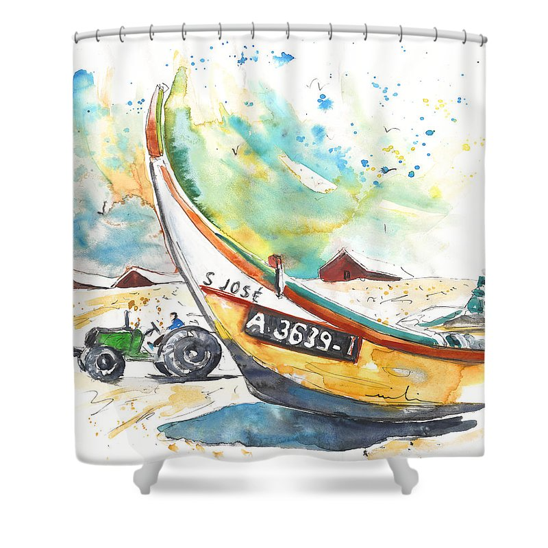Portugal Shower Curtain featuring the painting Fisherboat In Praia De Mira by Miki De Goodaboom