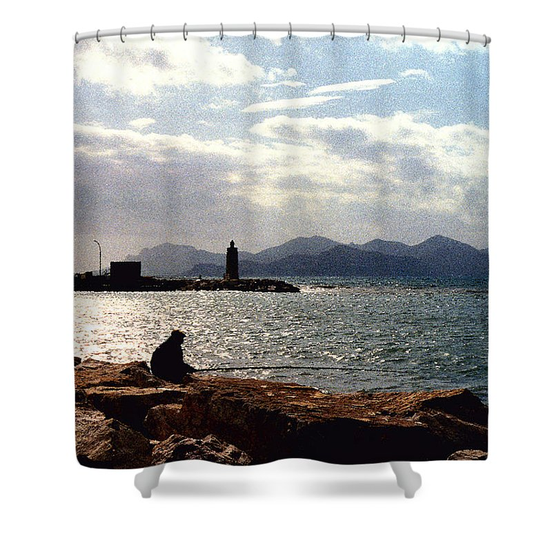 Fisherman Shower Curtain featuring the photograph Fisherman In Nice France by Nancy Mueller