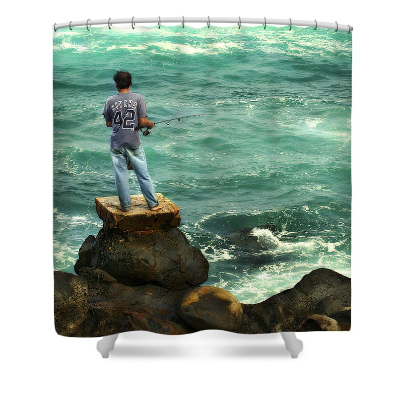 Americana Shower Curtain featuring the photograph Fisherman by Marilyn Hunt