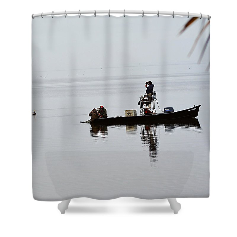 Sea Life Shower Curtain featuring the digital art Fisherman On The Water by Louise Krueger