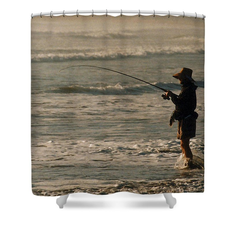 Fisherman Shower Curtain featuring the photograph Fisherman by Steve Karol